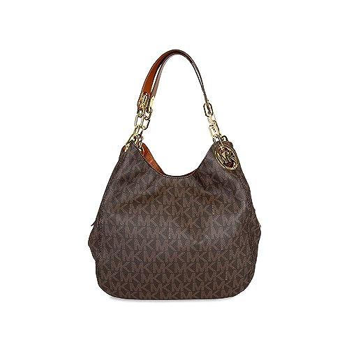 032ef500f20225 Michael Kors Brown PVC Fulton Large Signature Shoulder Bag Purse $398-