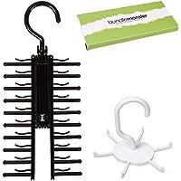 Bundle Monster 2 pc Black White Closet Organizer Rotating Necktie and Belt Hanger Set