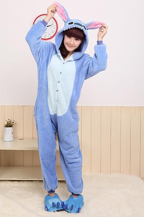 Disfraz/pijama Kigurumi de Stitch con capucha, unisex, color azul ...