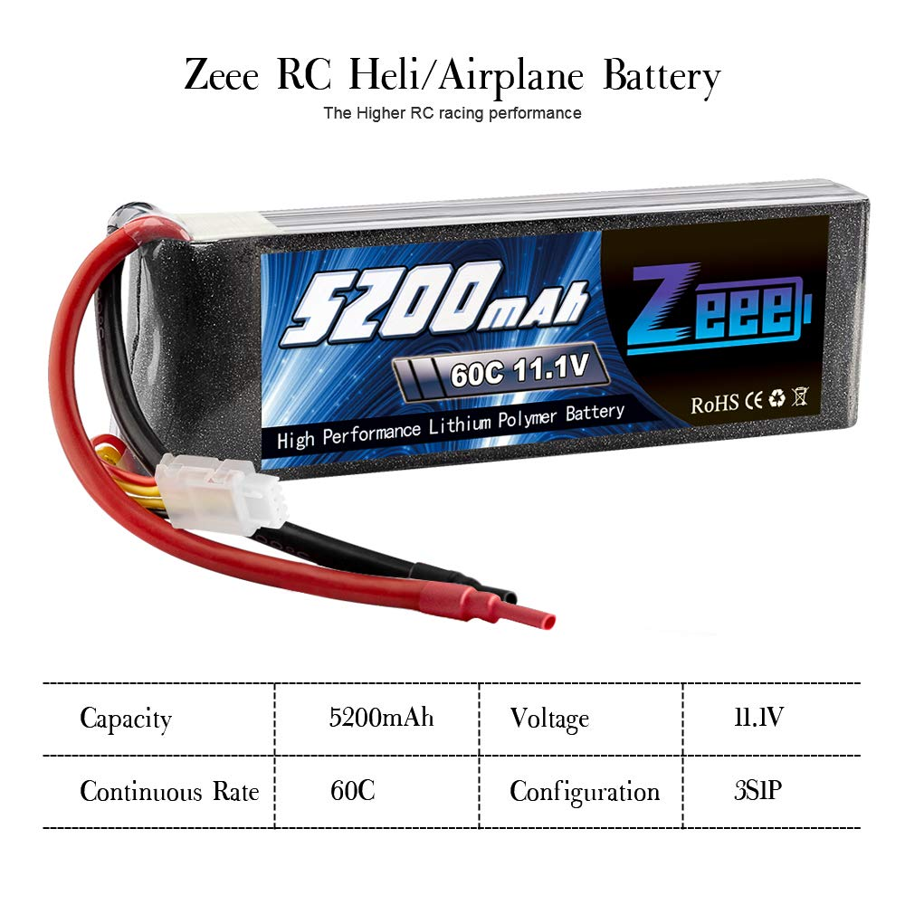 Zeee 5200mAh 11.1V 60C 3S LiPo Battery with (XT60 and Deans Connector) for RC Plane, DJI F450 Quadcopter,RC Airplane, RC Helicopter, RC Car/Truck, RC Boat by Zeee (Image #4)