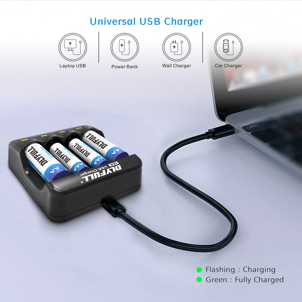 Dlyfull Rechargeable AA and AAA Battery Charger with 4 Bays, Ni-MH/CD Battery Charger with LED Indicators & USB Cable