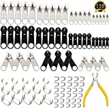 SUBANG 110 Pieces Zipper Replacement Zipper Repair Kit with Zipper Install Pliers Tool, Silver and Black