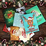 8 Pack Christmas Greeting Cards 5D DIY Diamond Card Round Diamond Christmas Gifts, Christmas, Wedding, Holiday, (8 Envelopes, 7x5 Feet)