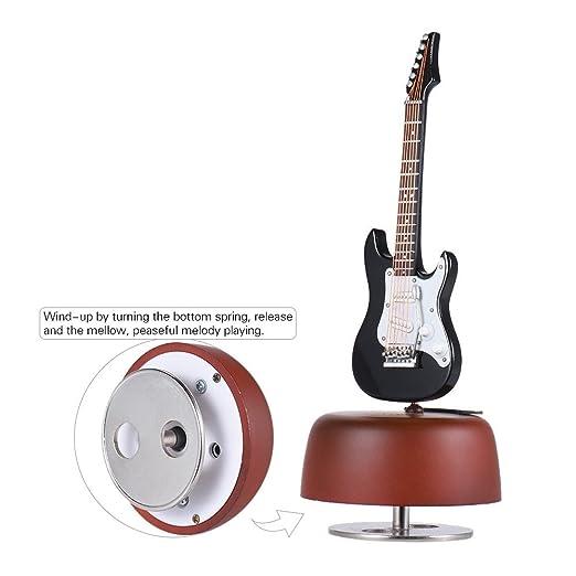 Ammoon clásica Wind Up negro guitarra eléctrica caja de música giratoria Base de música instrumento réplica en miniatura Artware con caso para ...