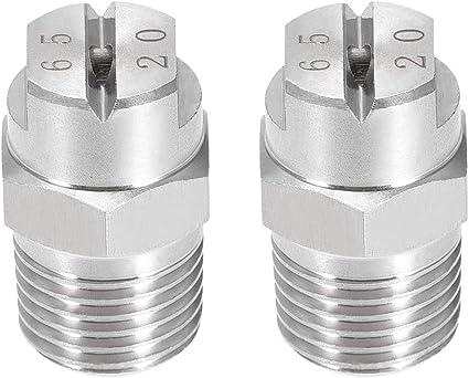 Flat Fan Spray Tip 1.1mm Orifice Dia 65 Degree Stainless Steel Nozzle 2 Pcs