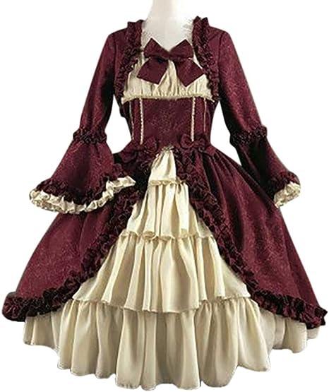 con cuciture stile medievale Abito da donna vintage per Halloween patchwork retr/ò scollatura squadrata gotico alla moda fiocco e volant carnevale a trapezio