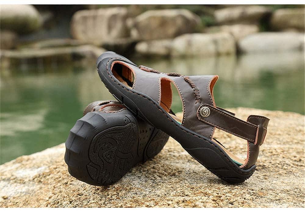 Mens Leather Sandals Comfortable Soles Breathable Button Closure M US Men Brown,Lable 37//5.5 D