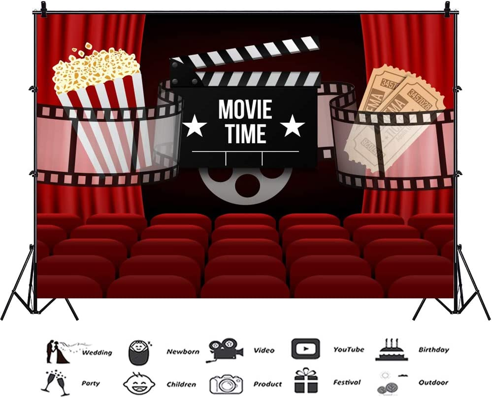 8x12 FT Movie Theater Vinyl Photography Backdrop,Film Festival Grungy Round Stamp with an Antique Projection Camera Silhouette Background for Photo Backdrop Baby Newborn Photo Studio Props