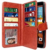 NEXTKIN LG G Stylo LS770 Case, Leather Dual Wallet Folio TPU Cover, 2 Large Pockets Double flap, Multi Card Slots Snap Button Strap For LG G Stylo LS770/G Vista 2 H740 2nd 2015 - Dark Brown