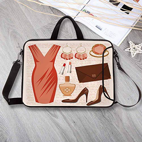 Heels and Dresses Neoprene Laptop Bag,Accessories Fashion Cocktail Dress Lipstick Earrings High Heels Decorative Laptop Bag for Office Worker Students,14.6
