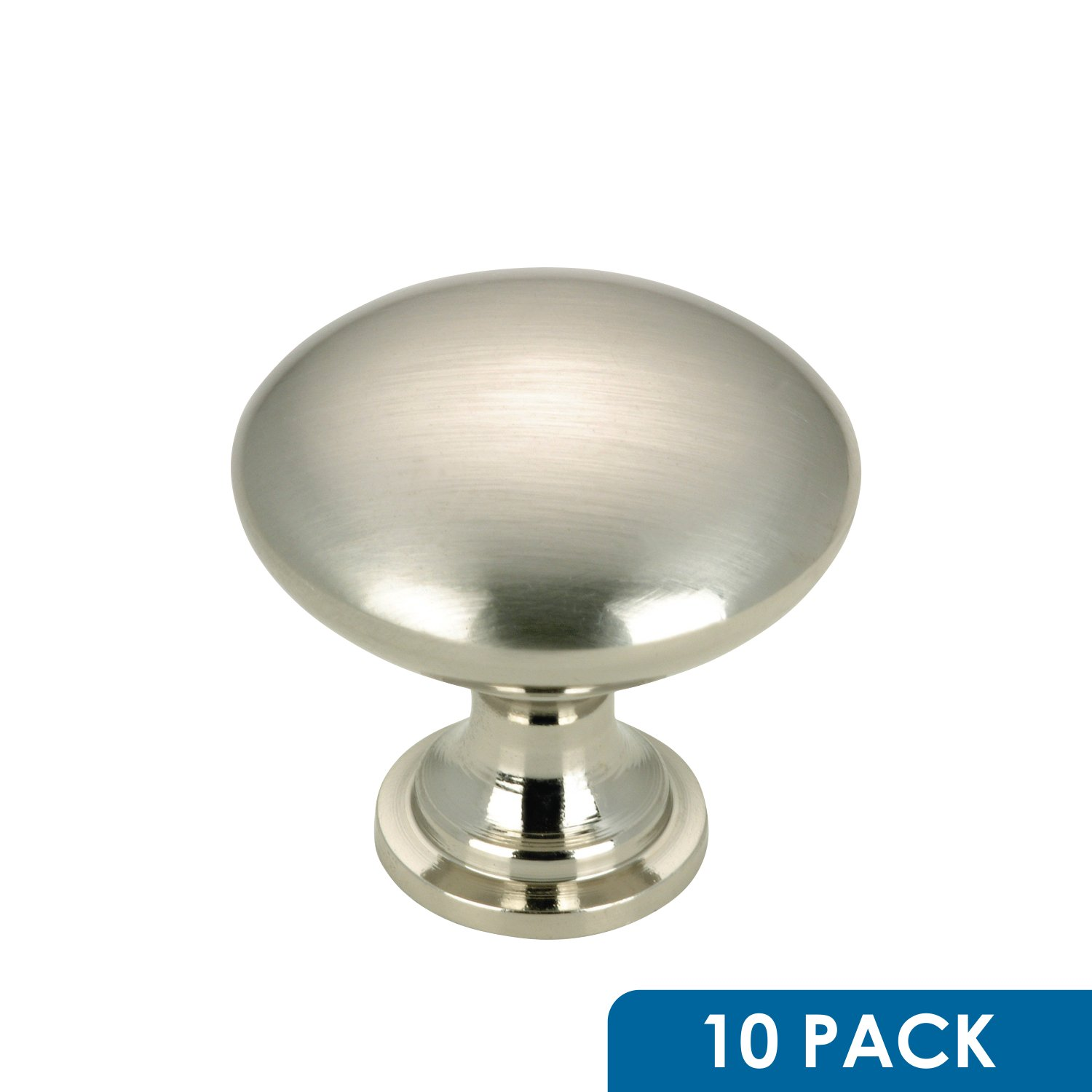 "10 Pack - Rok Hardware Contemporary Metal Knob, Brushed Nickel, 1-3/16"" Diameter ROKK101BN"