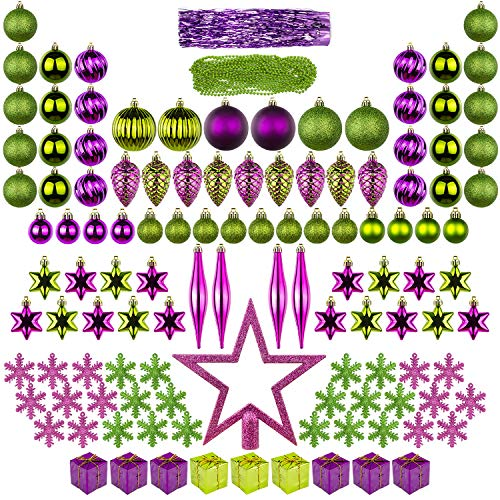 - ITART 122ct Christmas Tree Ornaments Decorations Assortment Including Tree Topper Balls Snowflakes Stars Pine Cones Miniature Gift Boxes Tinsel and Beads Garlands Finial (Purple and Green)