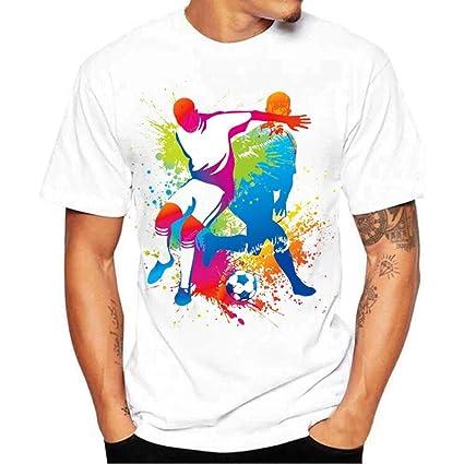 LuckyGirls Camisetas Hombre Manga Corta Originales Estampado de Fútbol Verano Moda Blanco Polos Personalidad Slim Camisas