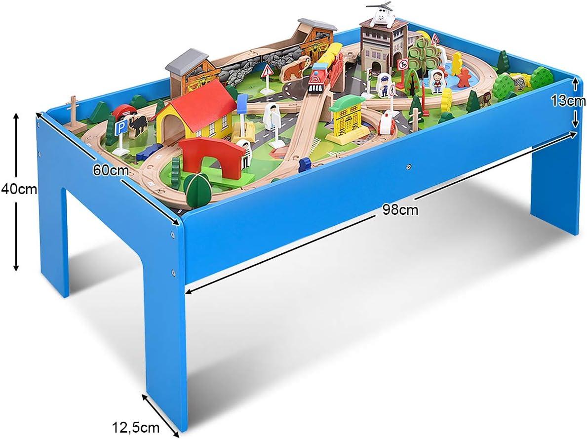 Spieltisch Holzeisenbahn Aktivitätentisch Multifunktionstisch 91 tlg für Kinder
