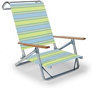 Telescope Casual Original Mini-Sun Chaise Folding Beach Arm Chair, Coastal