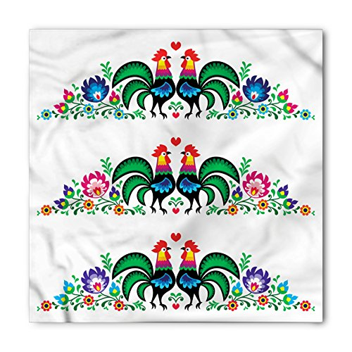 Gallos Bandana by Lunarable, Roosters Polish Culture Slavic Ethnic European Classics Tribal Artwork, Printed Unisex Bandana Head and Neck Tie Scarf Headband, 22 X 22 Inches, Green Blue Pink - Rooster Polish