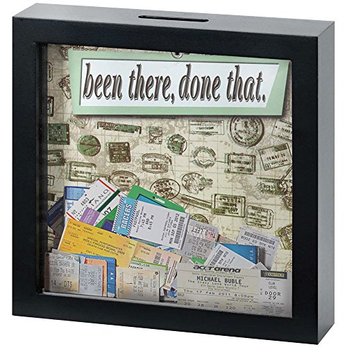 Been There Done That Keepsake Black MDF Box w/ Clear Front - Removable Back