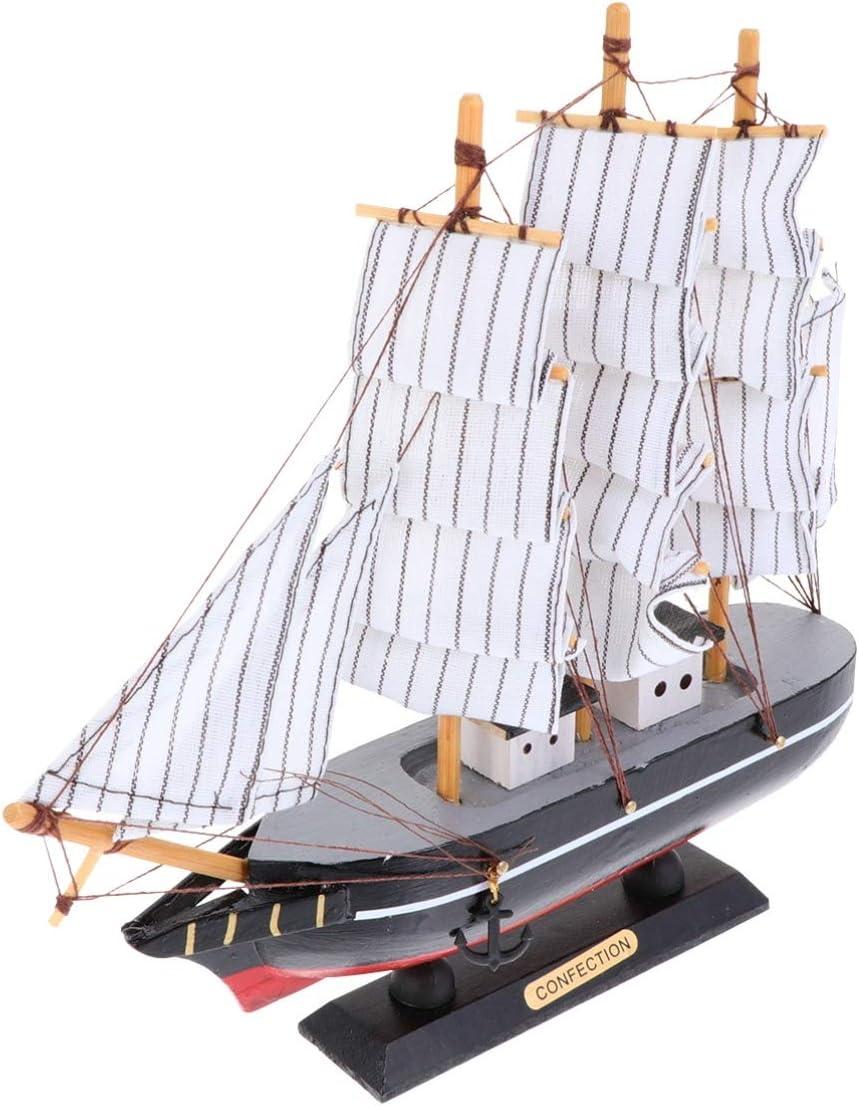 IMIKEYA Sailing Ship Model Decor Wooden Miniature Sailing Boat Model Handmade Vintage Nautical Sail Ship for Tabletop Ornament Ocean Themed Home Decor Black
