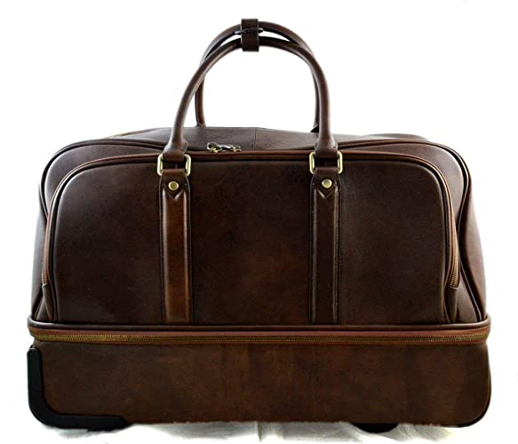 3e8927daf813 Amazon.com  Leather duffle trolley travel bag weekender overnight leather  bag with wheels dark brown leather cabin luggage airplane carryon  Handmade