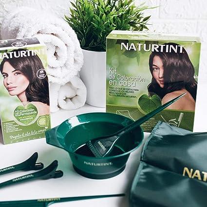 Naturtint Kit de Coloración en Casa 5 Accesorios - Brocha + Capa + Peine + Pinzas + Bol | Kit Tinte Pelo | Sin Elementos Metálicos | Kit Tinte Cabello ...