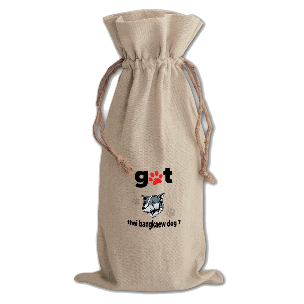 Canvas Wine Cotton Drawstring Bag Got Thai Bangkaew Dogdog Style In Print by Style in Print