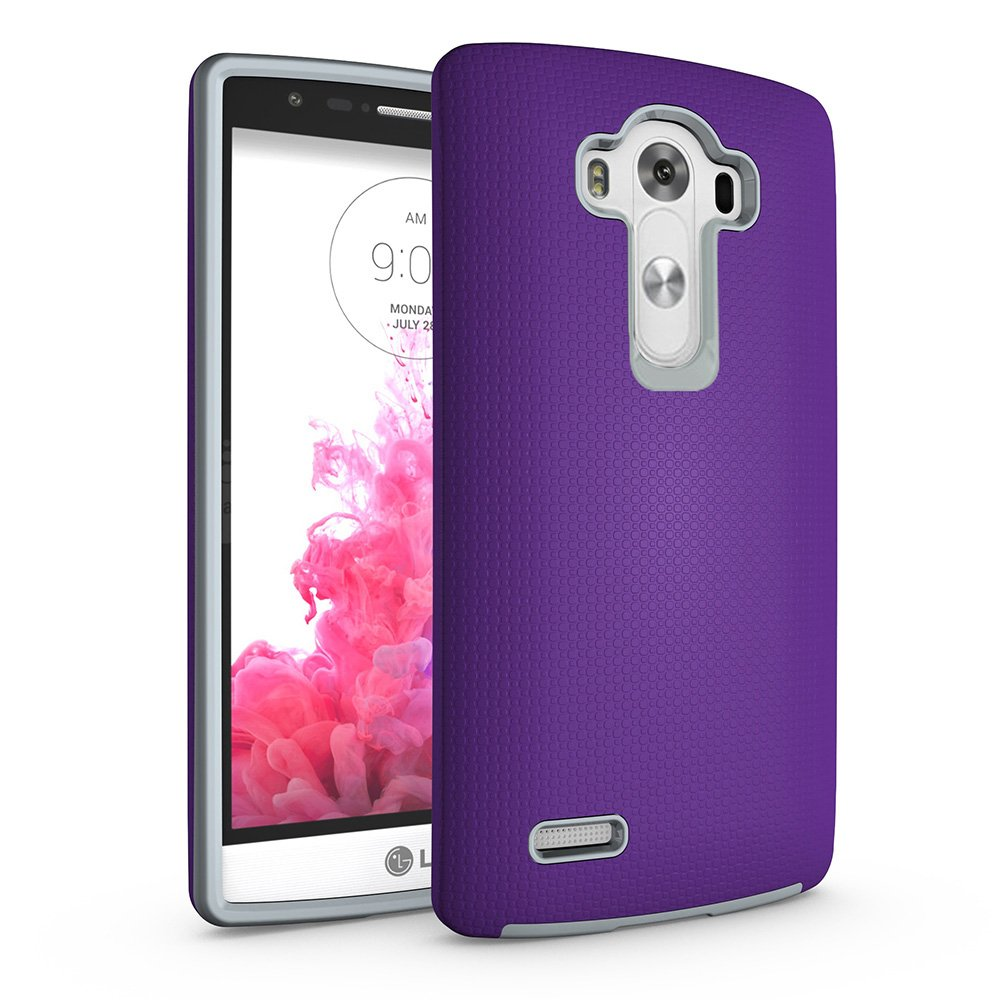 ACMBO LG G4 Non-Slip case, Dual Guard Protective Shock-Absorbing Scratch-Resistant Rugged Drop Protection Cover for LG G4 H810 H811 H815 VS986 H815 5.5-Inch, Purple