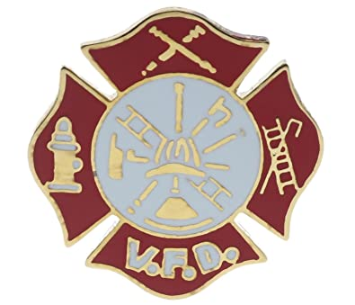 Amazon com: Fire Department Volunteer Red White Gold Tone