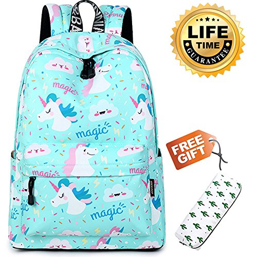 Girl Backpack Fashion Student School Book bags Cute Women Printed Pattern College Daypack (Unicorn)