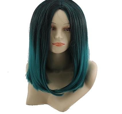 MZP En Europa y en negro las pelucas cosplay mediana color verde degradado de COS de