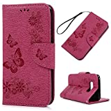 Image of S8 Case Wallet, KASOS Embossed Bright Flowers Butterfly Wallet Case PU Leather with Kickstand Soft TPU Inner Shell Magnetic Front Closure Card Holders & Hand Strap Cover for Samsung - Rose Red