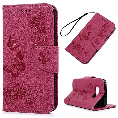Price comparison product image S8 Case Wallet,  KASOS Embossed Bright Flowers Butterfly Wallet Case PU Leather with Kickstand Soft TPU Inner Shell Magnetic Front Closure Card Holders & Hand Strap Cover for Samsung - Rose Red