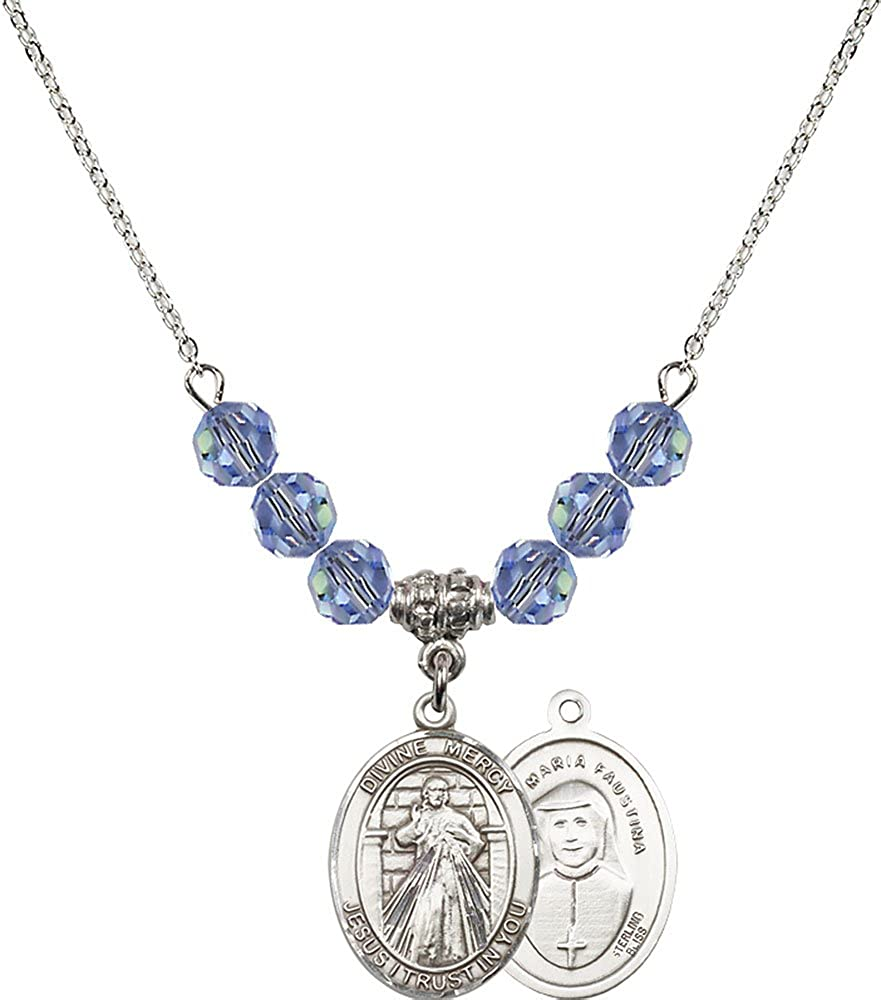 18-Inch Rhodium Plated Necklace with 6mm Light Sapphire Birthstone Beads and Sterling Silver Divine Mercy Charm.