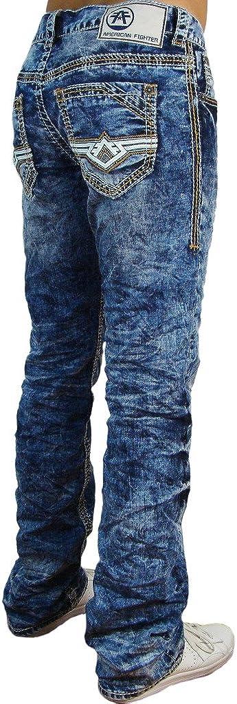 American Fighter Vaquero Pantalones Para Hombre Multicolor Lavado Ligero 38w 34l Amazon Es Ropa Y Accesorios