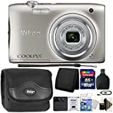 Nikon COOLPIX A100 20.1MP f/3.7-6.4 Max Aperture Compact Digital Camera + Accessory Kit Silver