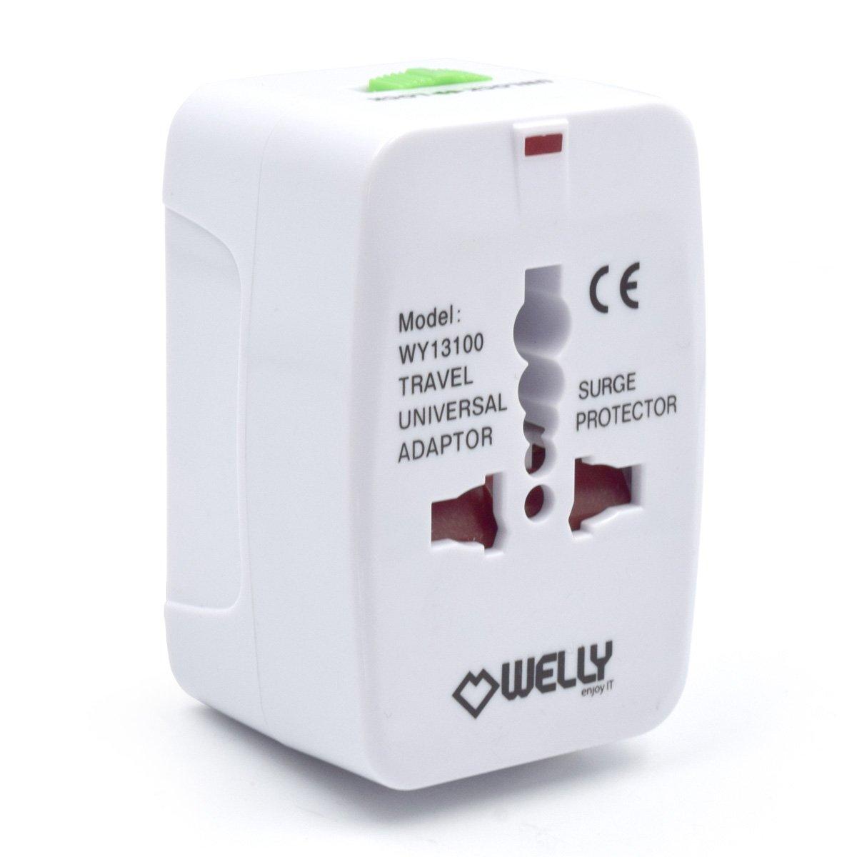 Welly Enjoy wy13102 – Adaptateur de voyage compact universel avec 2 ports USB 5 V/2400mA, couleur vert et noir