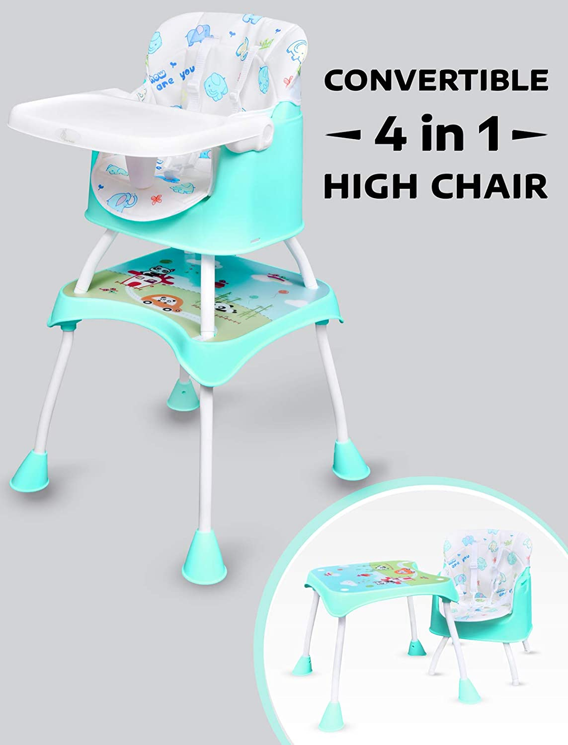 R for Rabbit Cherry Berry Grand - The Convertible 4 in 1 Feeding High Chair for Baby/Kids (Lake Green)