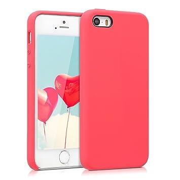 kwmobile Funda compatible con Apple iPhone SE / 5 / 5S - Carcasa de TPU para móvil - Cover trasero en rojo neón