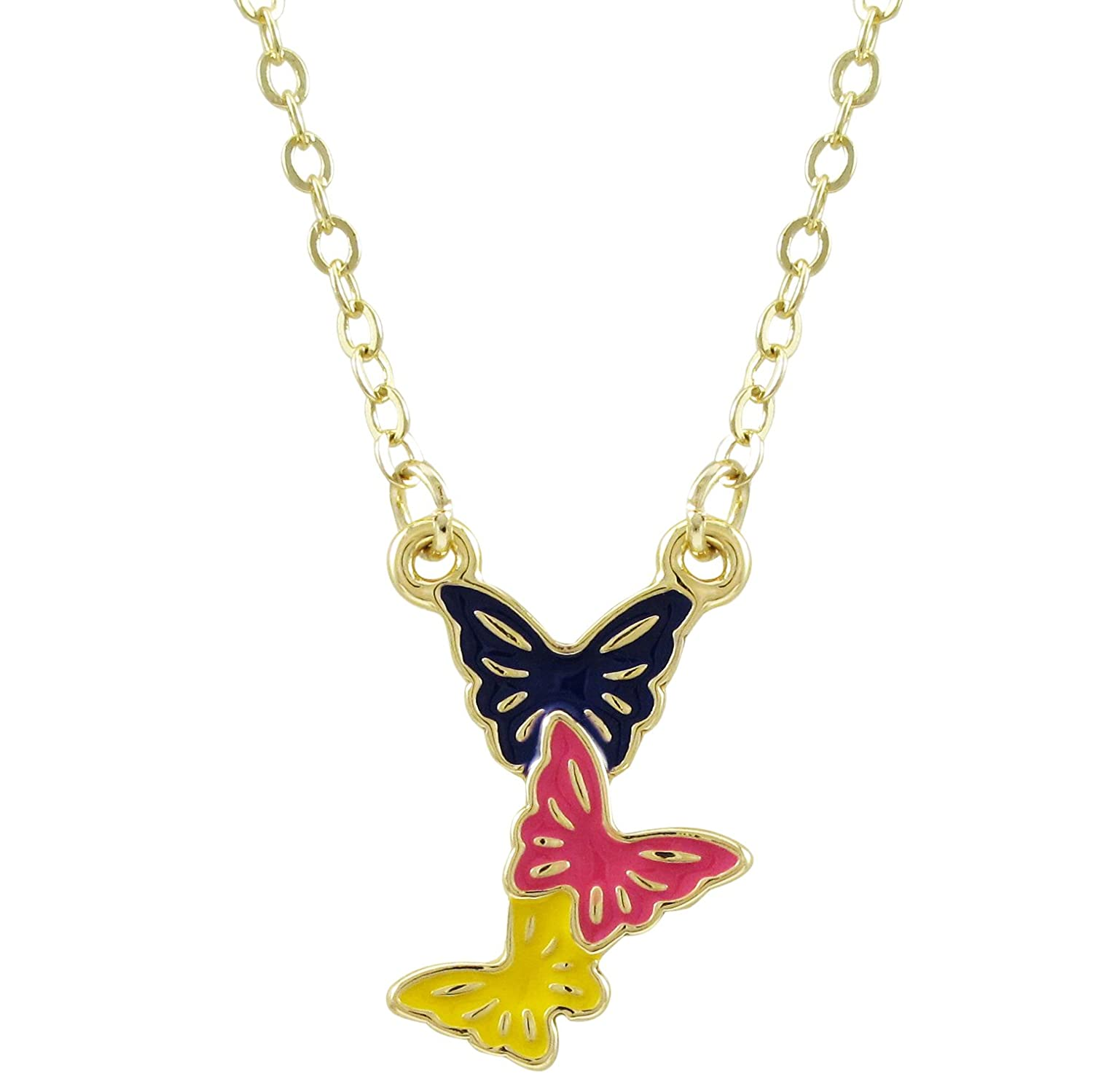 16+2 Extender Ivy and Max Gold Finish Multi-Color Enamel Childrens Teens Butterfly Necklace