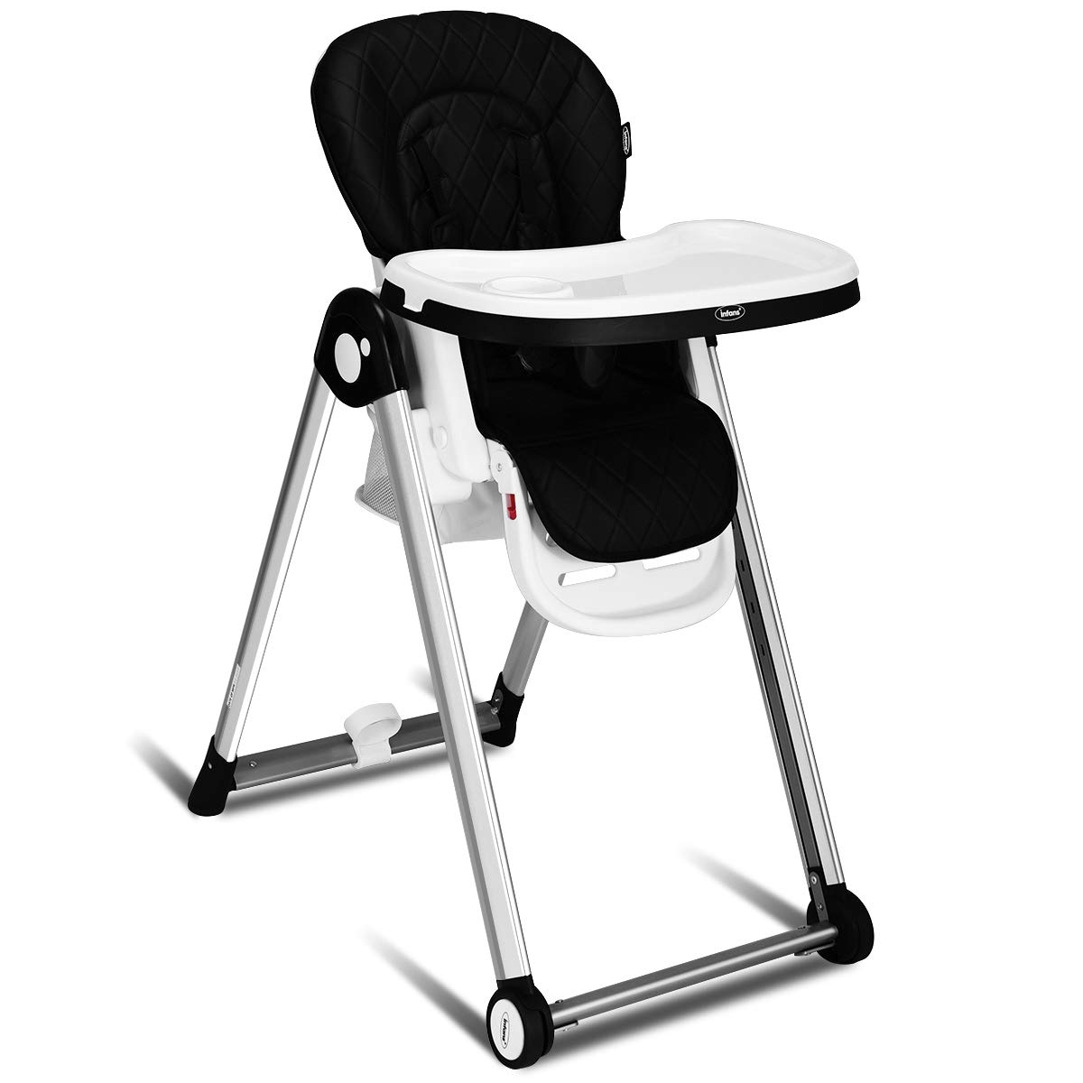 INFANS Folding High Chair for Babies &Toddlers, Space Saving with Multiple Adjustable Backrest, Footrest & Seat Height, Front Wheels, Removable Trays, Detachable Cushion, Storage Basket (Black)