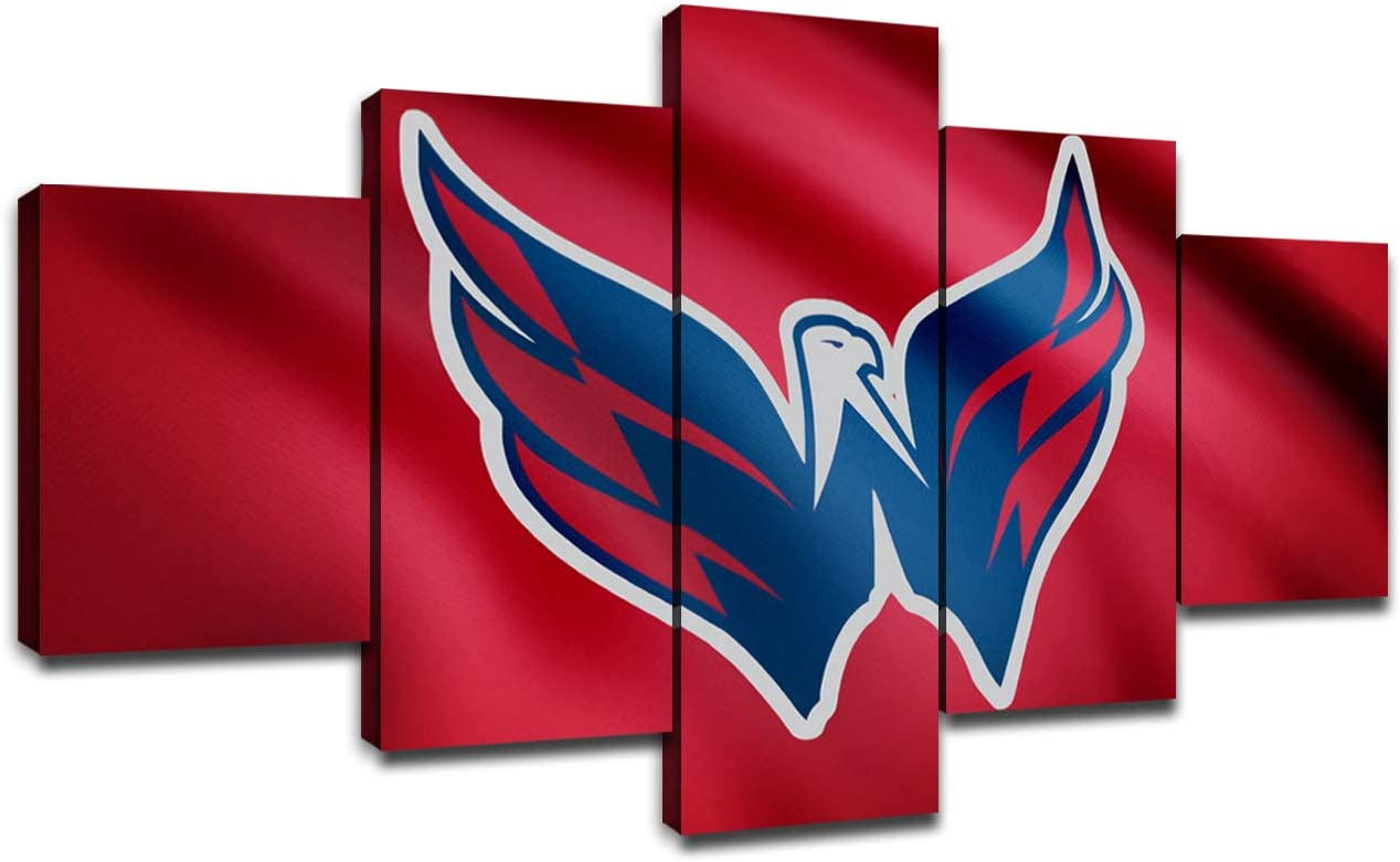 Washington Capitals Hockey Team Logo Framed Wall Art Decor Modern Art Paintings 5 Piece Canvas Decoration Wall Picture Gift for Boys Artwork Ice Hockey Prints Poster(60''Wx32''H)