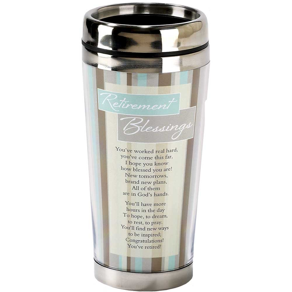 Retirement Blessings Brown Stripes 16 ounce Stainless Steel Insulated Travel Mug with Lid