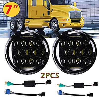 7 Inch For Kenworth T2000 T-2000 Tractor Trailer Truck LED Round Headlights Hi/Lo Double Beam DRL Driving Lamp Replacement 75W 6000K H5024 5024 6012 6014 6015 H6017 H6024 2PCS