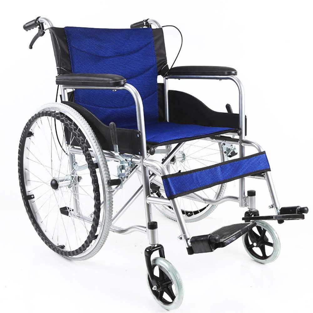 TLMY 車いすと座席が不自由な方用車いす運転手プッシュスクーター携帯用移動折りたたみ車椅子携帯用旅行用椅子 歩行補助器具 (Color : Blue) B07STY681T Blue