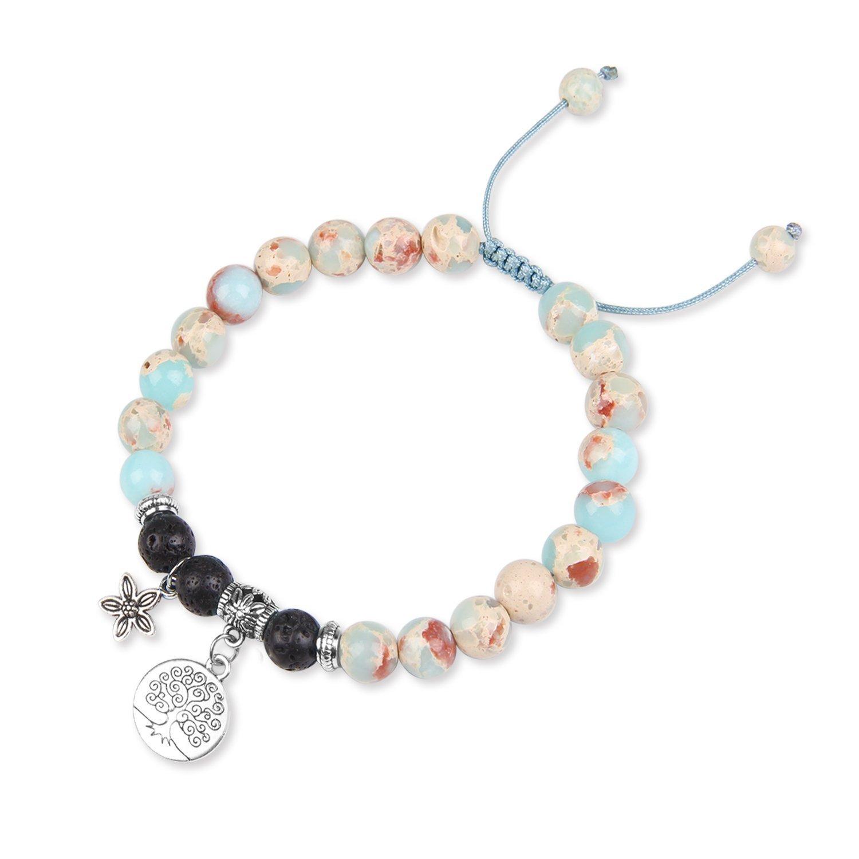 Youth Union 8mm Lava Rock Bracelet Adjustable Balancing Reiki Yoga Healing Crystal Gemstone Beaded Charms Bracelet Men Women