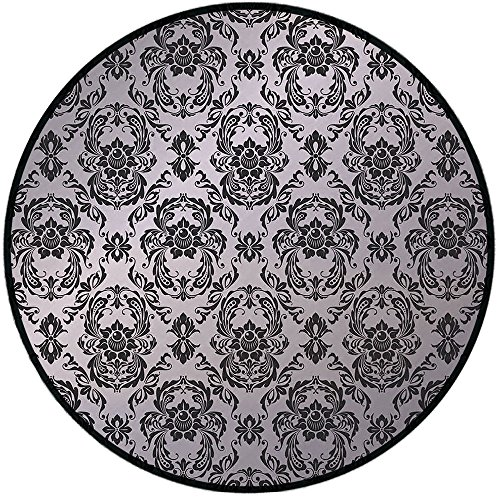 Printing Round Rug,Grey,Classic Baroque Style Ancient Detail Europian Elegant Motifs Western Old World Art Deco Decorative Mat Non-Slip Soft Entrance Mat Door Floor Rug Area Rug For Chair Living Room, ()