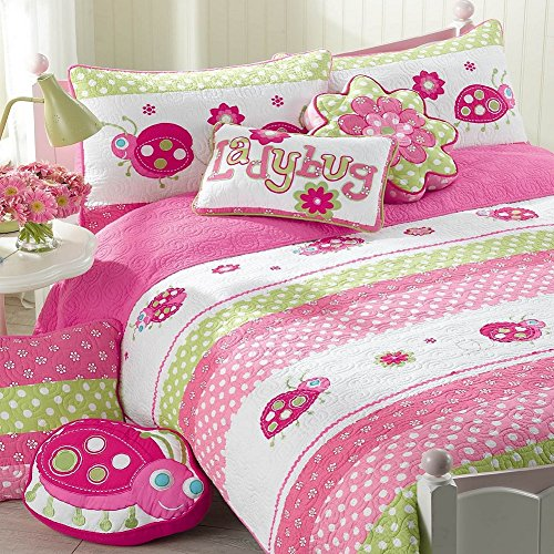 Cozy Line 3-Pcs Cute Pink Ladybug Reversible Quilt Set Girls Bedding for Kids, Full/Queen Dot Cotton Quilt