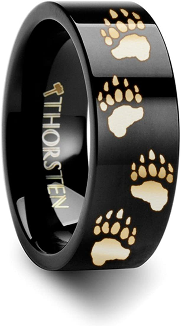 Thorsten Bear PAW Animal Track Bear Paw Print Ring Black Tungsten Ring Polished 6mm Wide Wedding Band from Roy Rose Jewelry