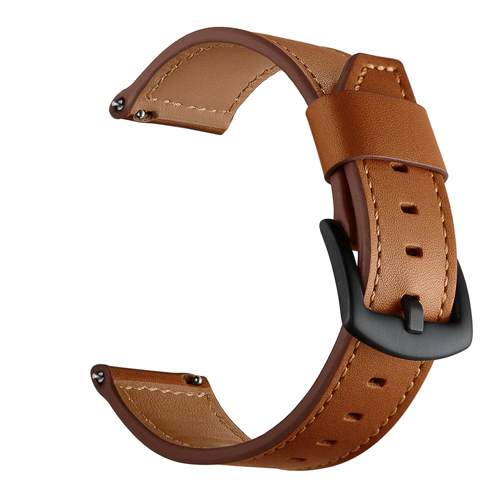 OXWALLEN for Samsung Gear S3 Watch Band 22mm Leather Replacement Watch Strap with Stainless Metal Buckle Clasp