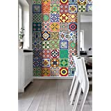 Tiles Stickers Decals - Packs with 48 Tiles (3.9 x 3.9 inches, Wall Art Tiles Decor Mexican Talavera Special Stickers)