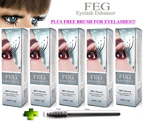 5 X BEST Eyelash Growth Product and Eyebrow Thickener. Most Effective Growth Serum to LENGTHEN & THICKEN Eyelashes and Eyebrows; 100% Original with Anti-Fake sticker + Eyelash and eyebrow brush!!!
